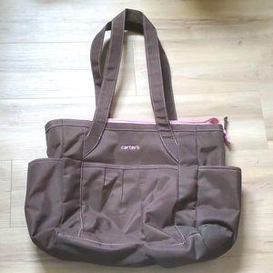 Carter's Brown and Pink Diaper Bag